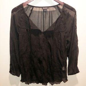 Lucky Brand | Black Sheer Blouse